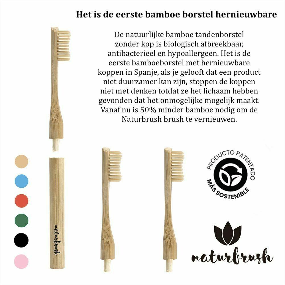 Biologisch afbreekbaar Bamboe tandenborstel zonder kop, Naturbrush Rood