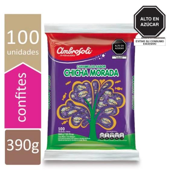 Caramelos de Chicha Morada (Doos x 5 bolsas, bolsa de 100 Caramelos c/u)