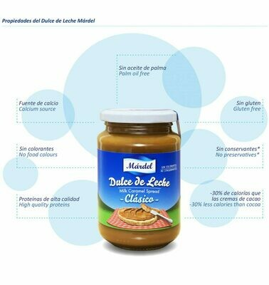 Dulce de Leche Mardel Clasico / Doos 12 potes x 550 Gram c/u Con Antigoteo