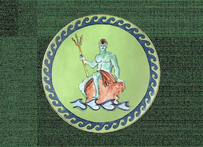 GINORI piatto 33cm verde Il Viaggio di Nettuno
