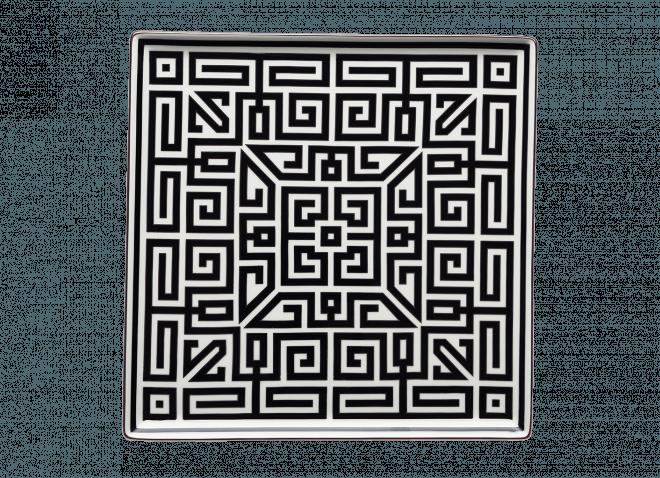 GINORI piatto quadrato 30 cm Labirinto nero