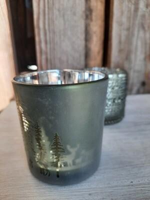 Teelicht-Glas grün - Winterlandschaft