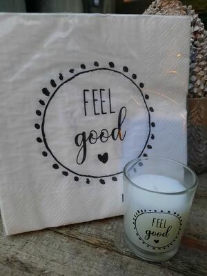 """Servietten und Kerze """"feel good"""""""