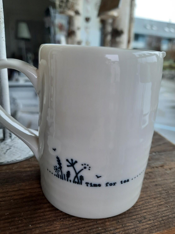 """Porzellan - Milchkrügli weiss """"time for tea"""""""