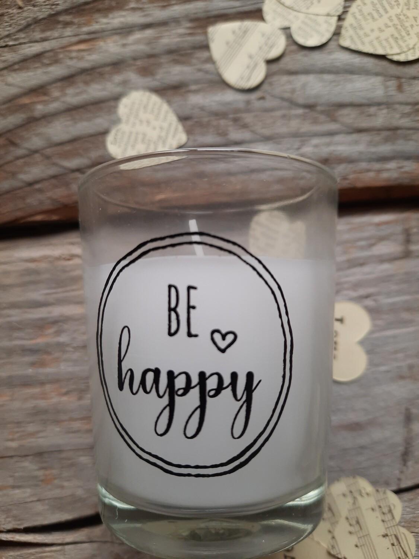 be happy - Kerzenglas