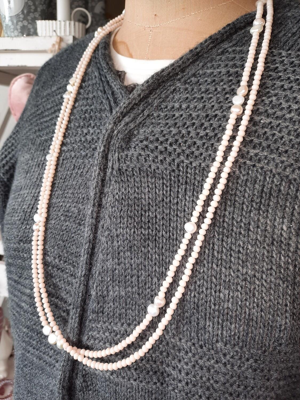 doppelte Halskette lang mit Süsswasserperlen