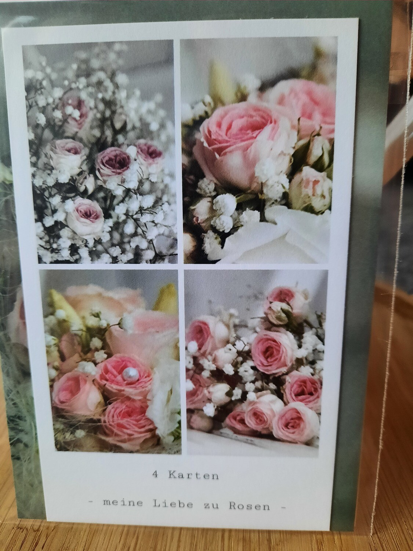 4 Karten - meine Liebe zu Rosen
