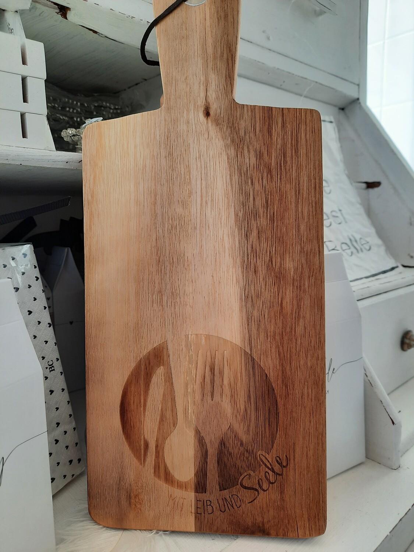 Holzbrett - mit Leib und Seele (Akazienholz)