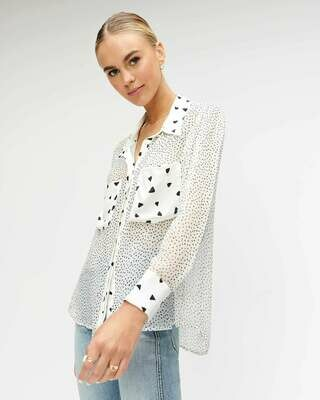 Black & White Confetti Dot Blouse