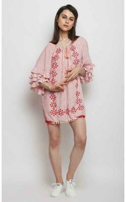 Peach Melba Embroidered Stripe Dress