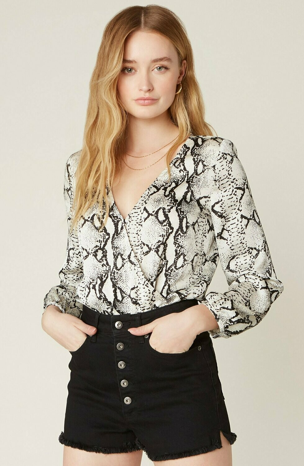 Snake Print Long Sleeve Bodysuit