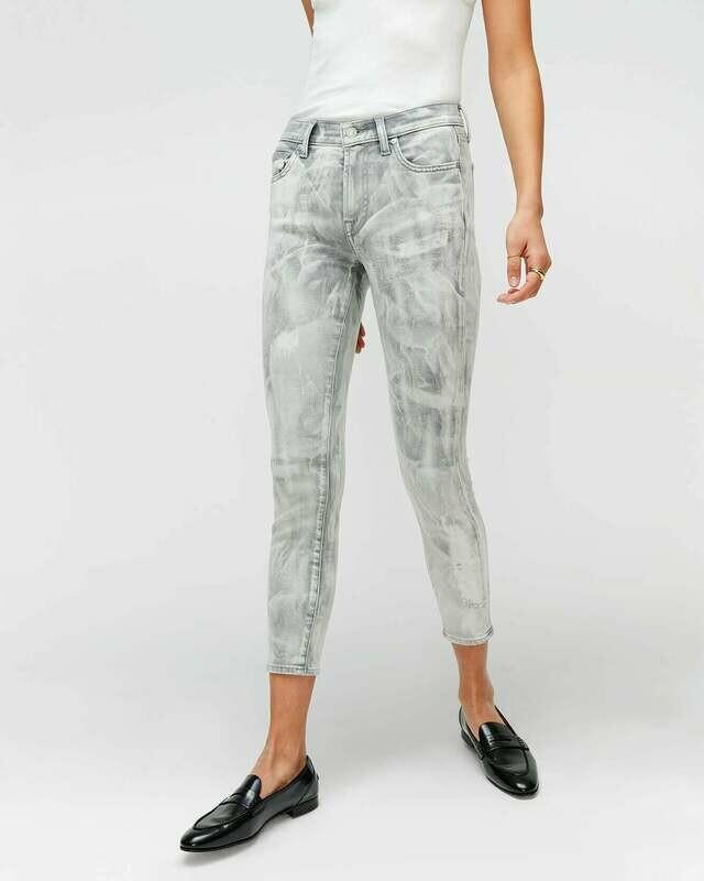 Grey Tie-Dye Mid-Rise Skinny Jean