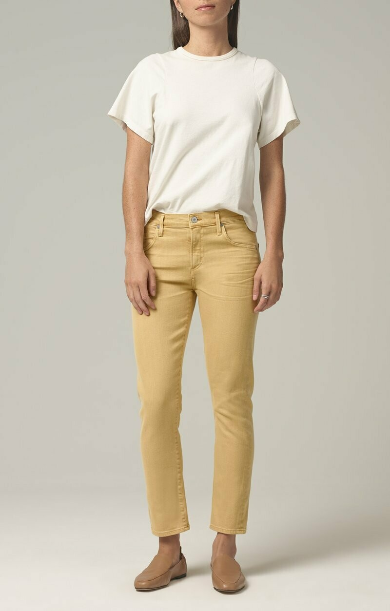 COH Mustard Mid-Rise Slim Cropped Jean
