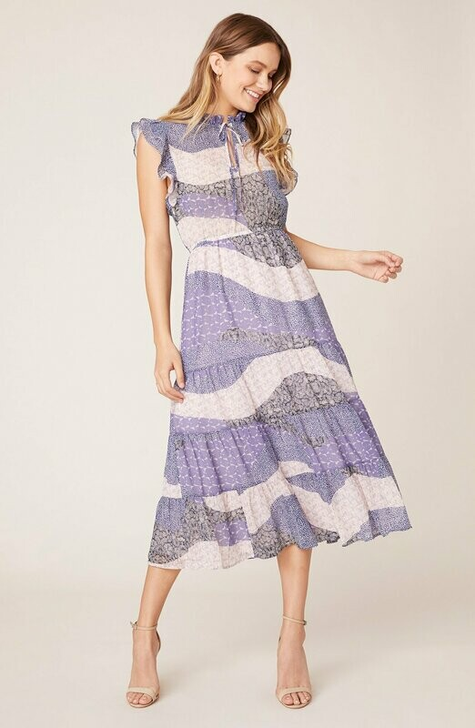 Lavender Patchwork Midi Dress