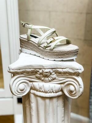 Off-White & Lime Strappy Platform Sandals