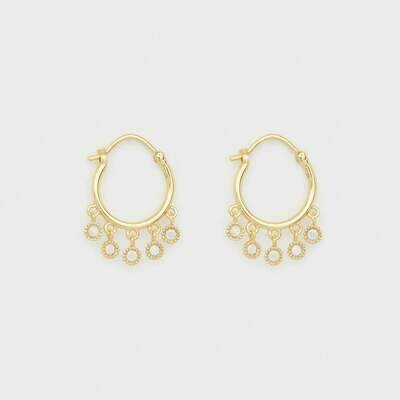 White CZ Dangle Huggie Hoops