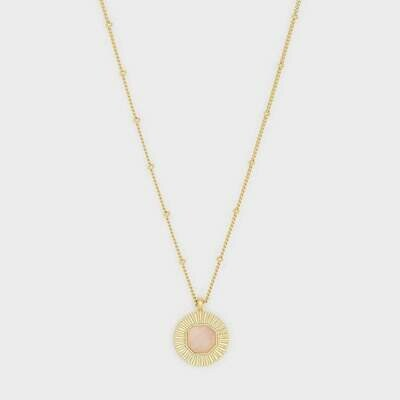 Rose Quartz Gemstone Coin Necklace