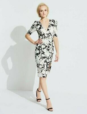 Black & Cream Oversized Florals Midi Dress