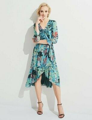 Sky Blue Tropical Print Wrap Dress