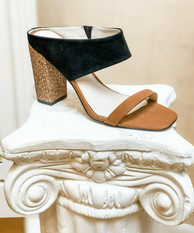 Black and Honey Suede Cork Heeled Sandal