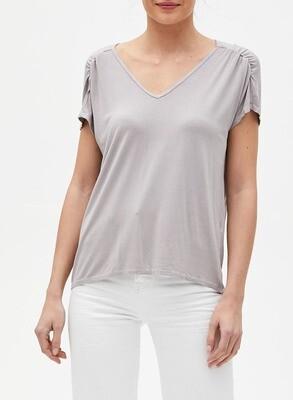 Oyster Ruched Shoulder V-Neck Shirt