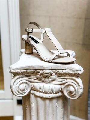 Off-White Heeled T-Strap Sandal