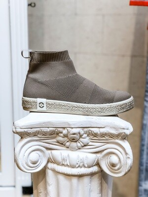 Tan Knit Sock Sneakers