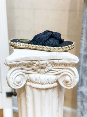 Black Knot Slide Sandals
