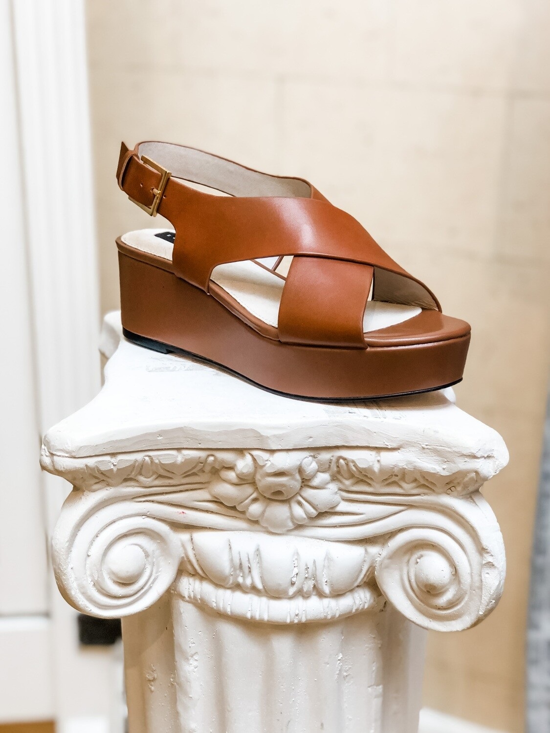 Cognac Thick Cross Strap Wedge Sandal