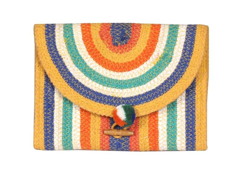 Rainbow Stripe Flap Clutch