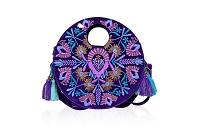 Egg Plant Embroidered Round Convertible Crossbody Bag