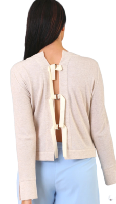 Oatmeal Tie Back Sweater