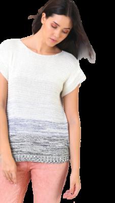 Ombre Cream & Gray Short Sleeve Sweater