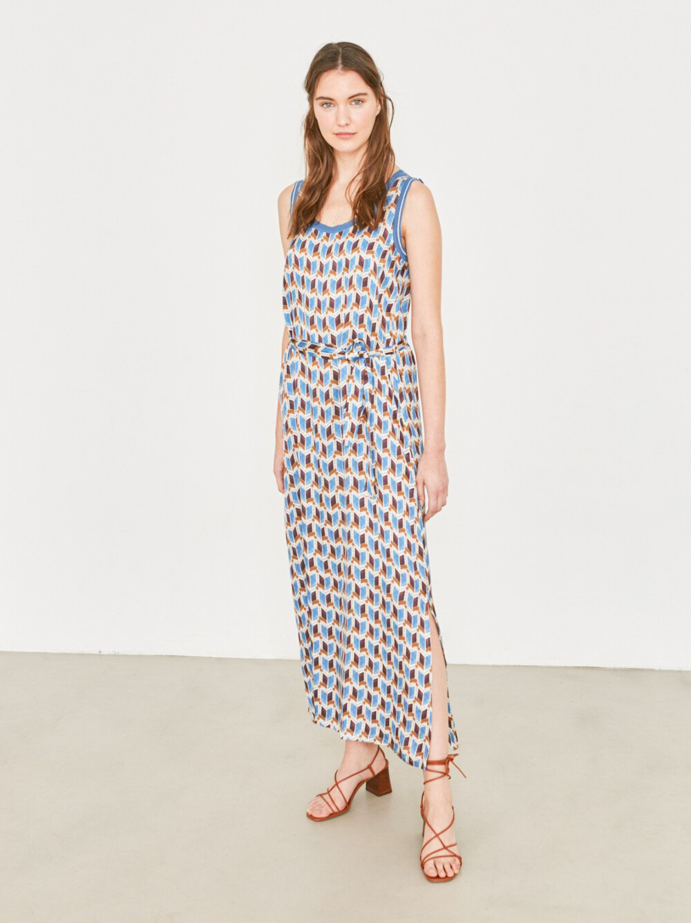 Blue & Brown Geometric Printed Midi Dress