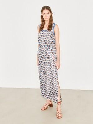 Blue & Brown Geometric Printed Midi Dress