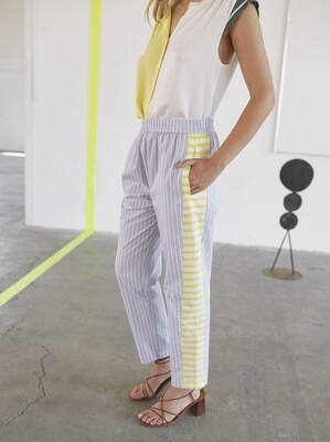 Light Blue & Yellow Striped Pull On Pants