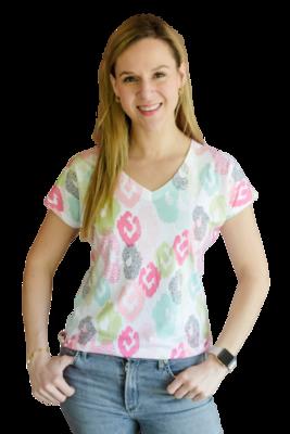 Pastel Ikat V-Neck T-Shirt