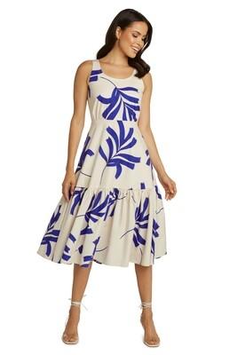 Cobalt Floral Flounce Midi Dress