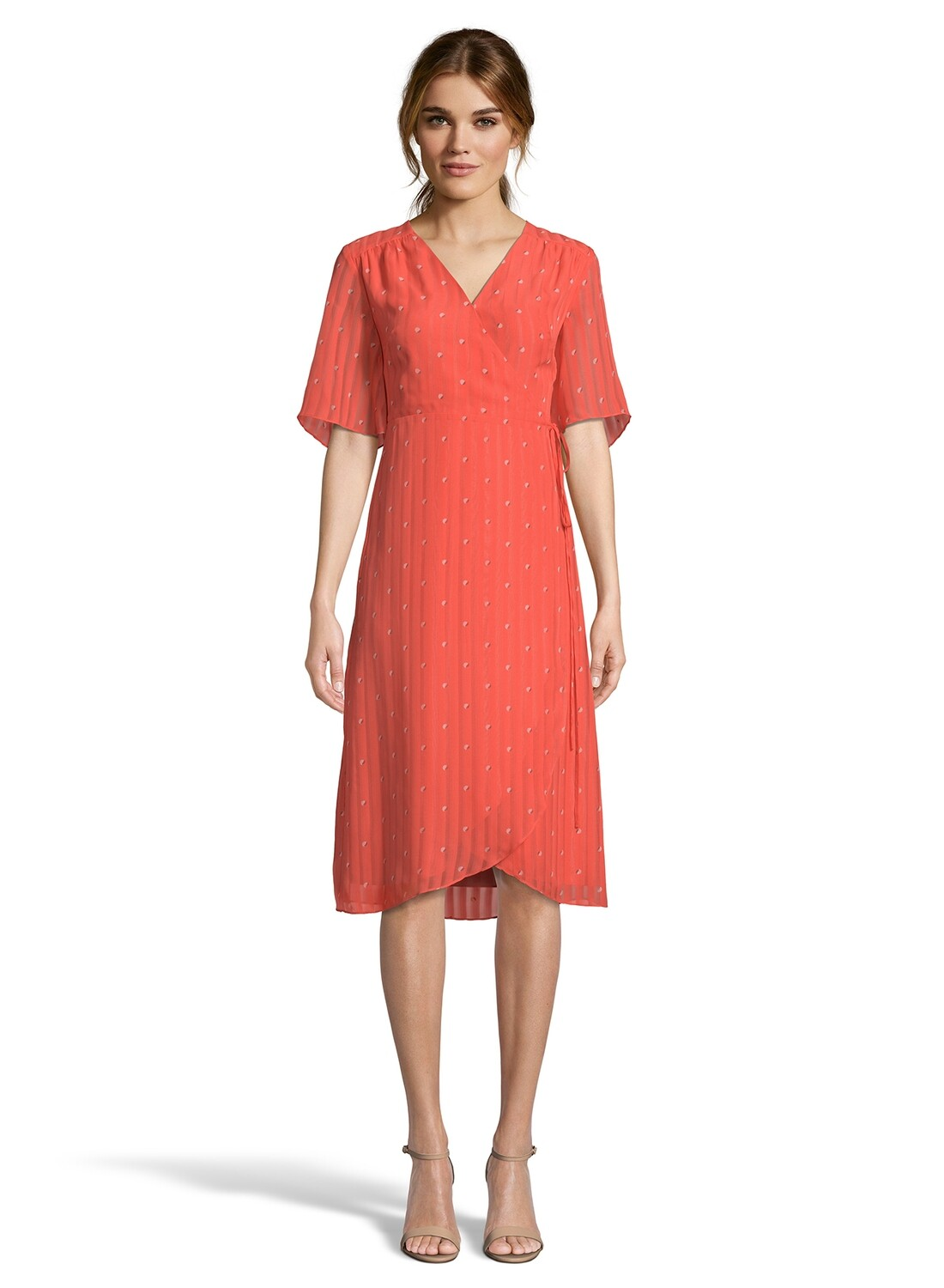 Coral Flared Sleeve Midi Wrap Dress