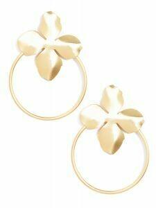 Gold Floral Door Knocker Drop Earrings