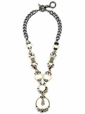 Mixed Metals & Crystals Pendant Necklace