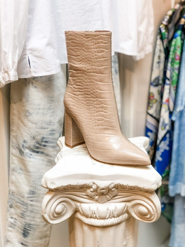Jeffrey Campbell Nude Crocodile Ankle Boots
