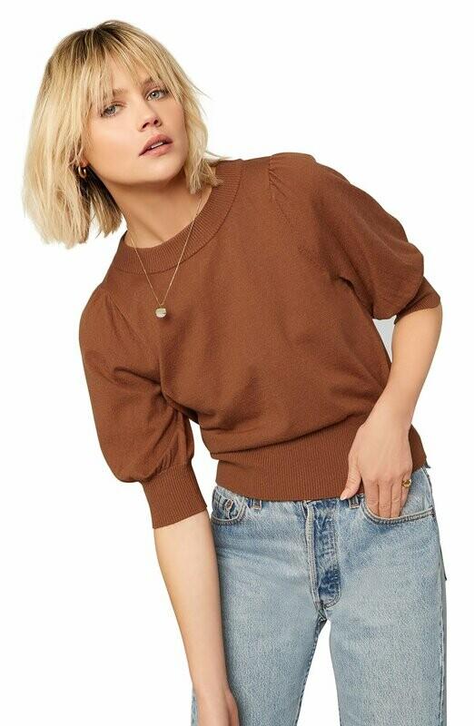 Camel Puff Sleeve Shirt
