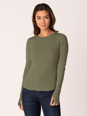 Olive & Black Waffle Knit Pullover