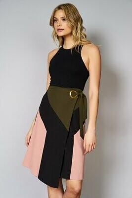 Colorblock Grommet Seamed Wrap Skirt