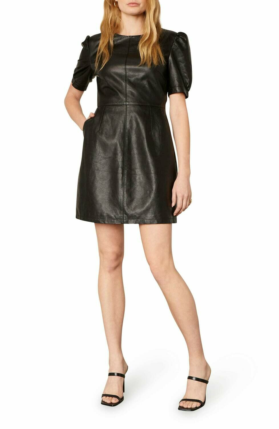 Black Faux Leather Puff Sleeve Dress