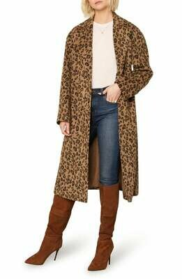 Leopard Print Sabrina Midi Coat
