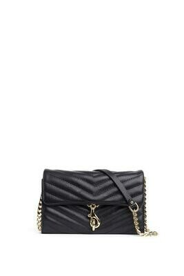 Black Quilted Leather Edie Wallet Crossbody Clutch