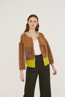 Tan, Gray & Citron Boucle Cardigan