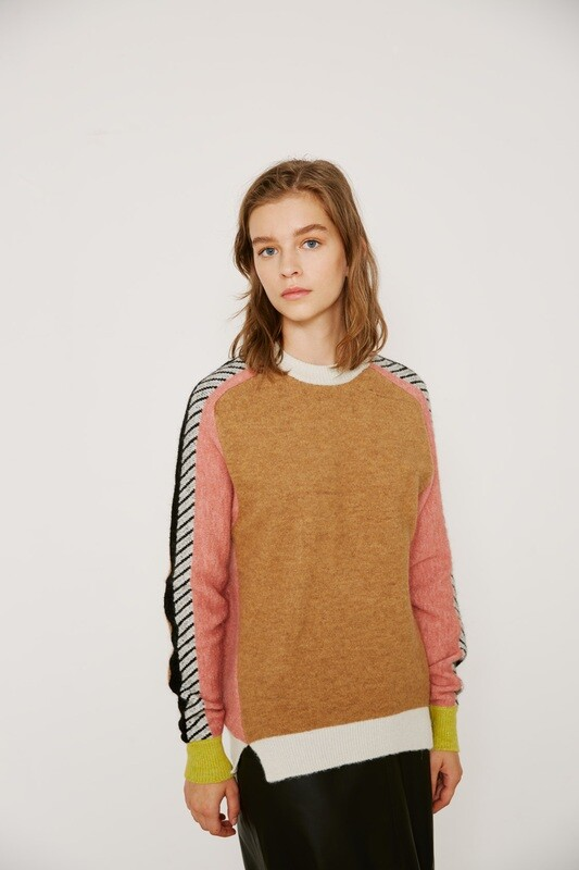 Tan Sweater with Black & Rose Striped Sleeve